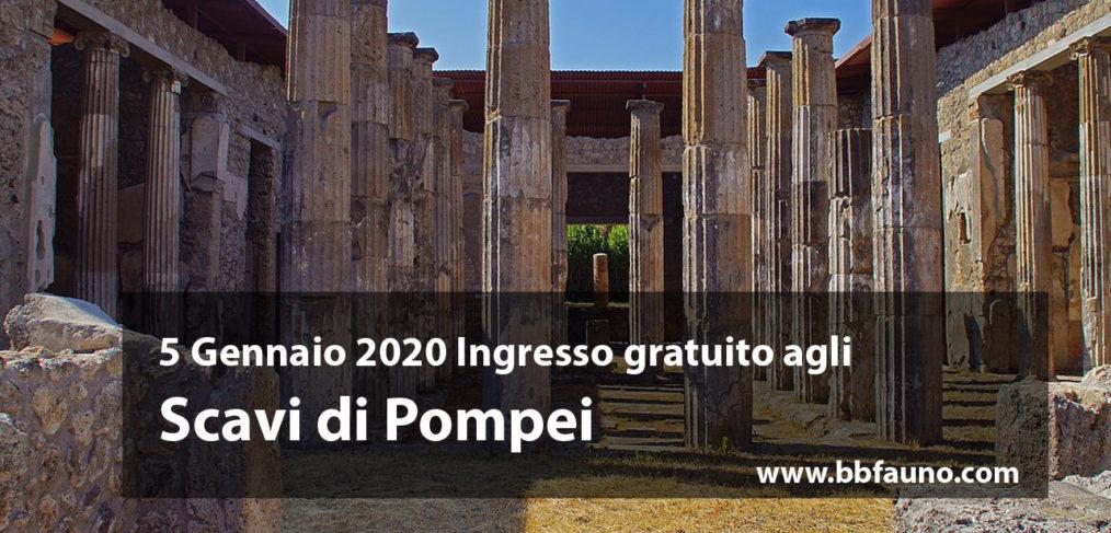 5 Gennaio 2020 ingresso gratuito Scavi di Pompei